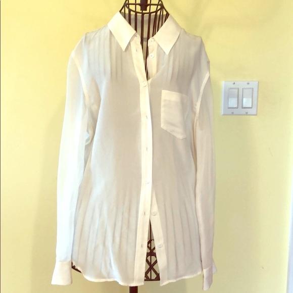 b38486abf6fe4 White Equipment long sleeve silk shirt size small